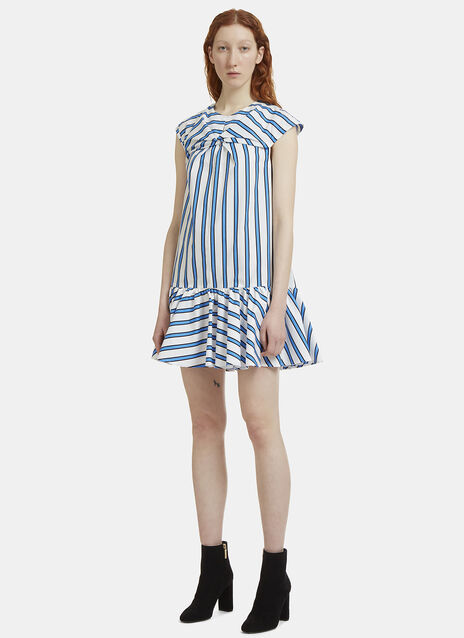 MSGM Striped Poplin Peplum Dress