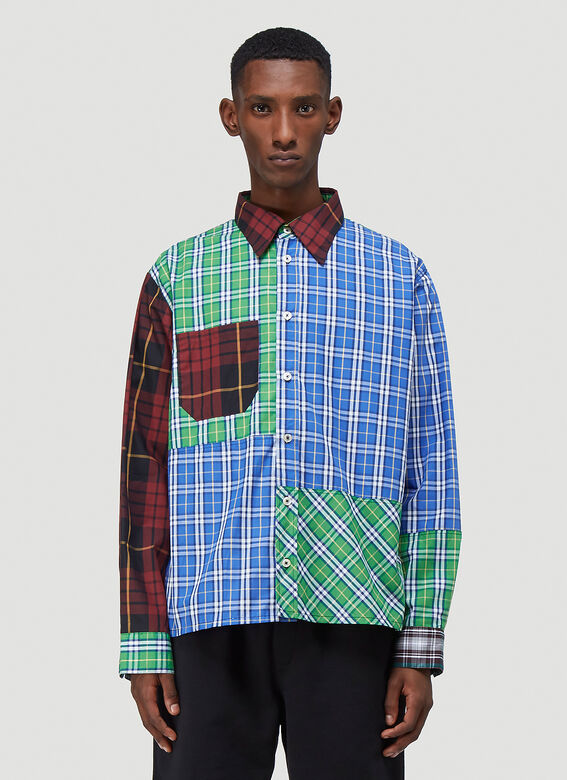 (Di)vision Deadstock Checked Patchwork Shirt 1