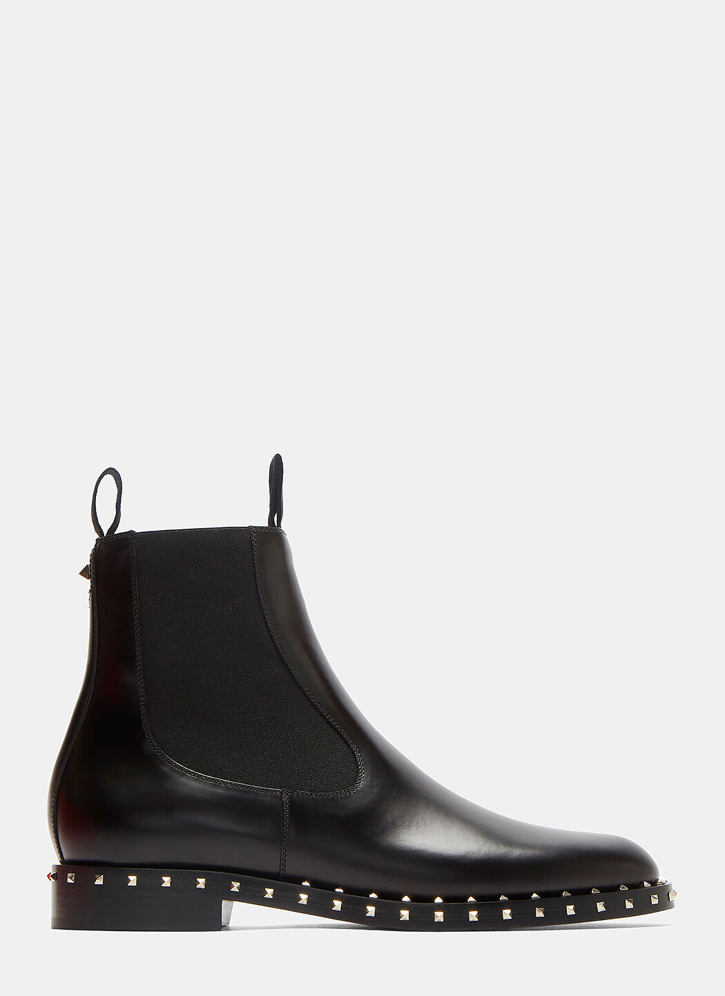 Valentino Leathers Pyramid-Studded Chelsea Boots in Black