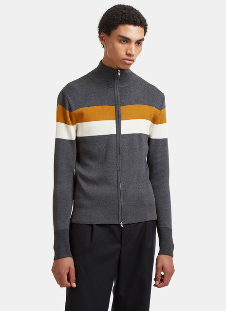 Emory Contrast Striped Zip-Up Sweater