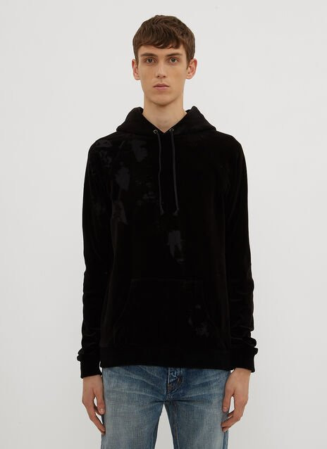 Saint Laurent Hooded Burnt Out Velvet Sweater