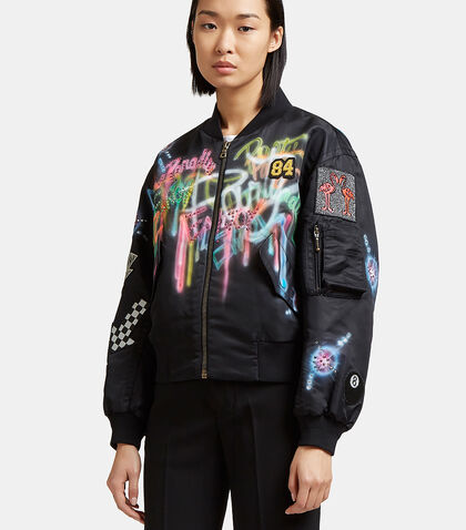 Spray-Painted Bejewelled Bomber Jacket