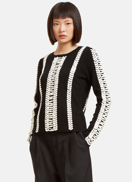 Deals Leather Whipstitched Sweater