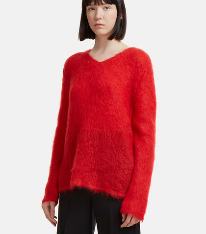 Loose Stitch V-Neck Mohair Sweater