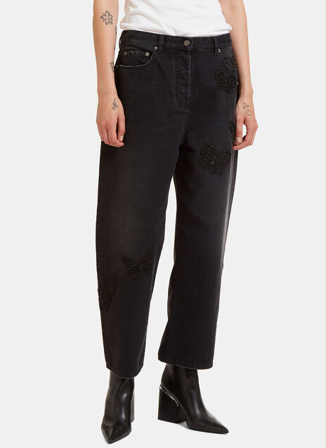 Valentino Butterfly Embroidered Boyfriend Jeans