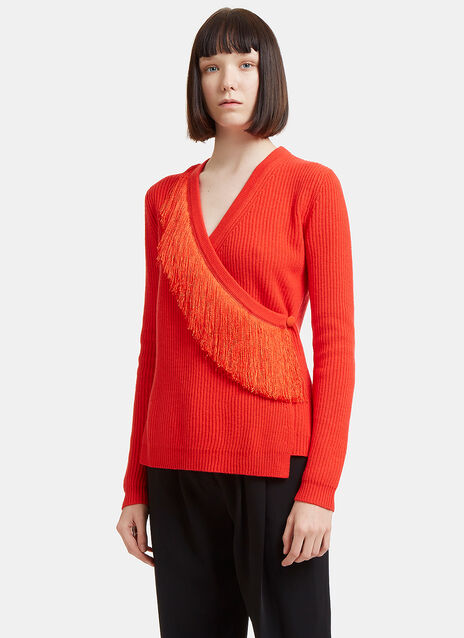 Altuzarra Fringed Wrap-Over Knit Cardigan