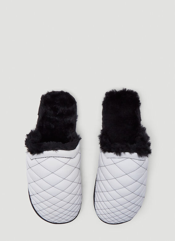Malibu Sandals COLONY MULE SLIPPER - RIP-STOP NYLON/FAUX-FUR/TPU- WHITE/BLACK 2