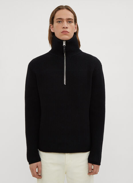 Acne Studios Ribbed Knit Half-Zip Sweater