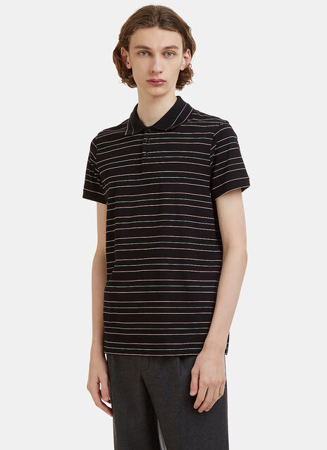 Saint Laurent Striped Cotton Polo Shirt