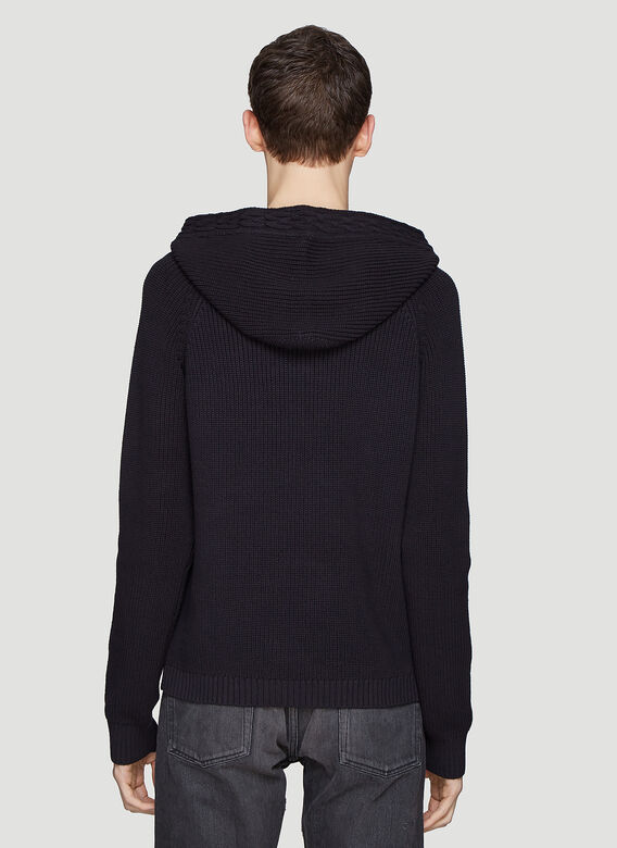 Saint laurent Hooded Ribbed Lace-Up Knit Sweater