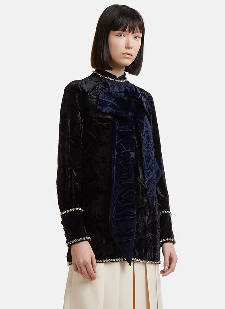 Gucci Bow Detail Crushed Velvet Tunic