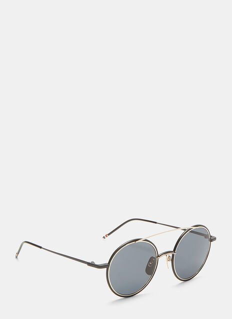Thom Browne Bridged Gold-Rimmed Matte Round Sunglasses