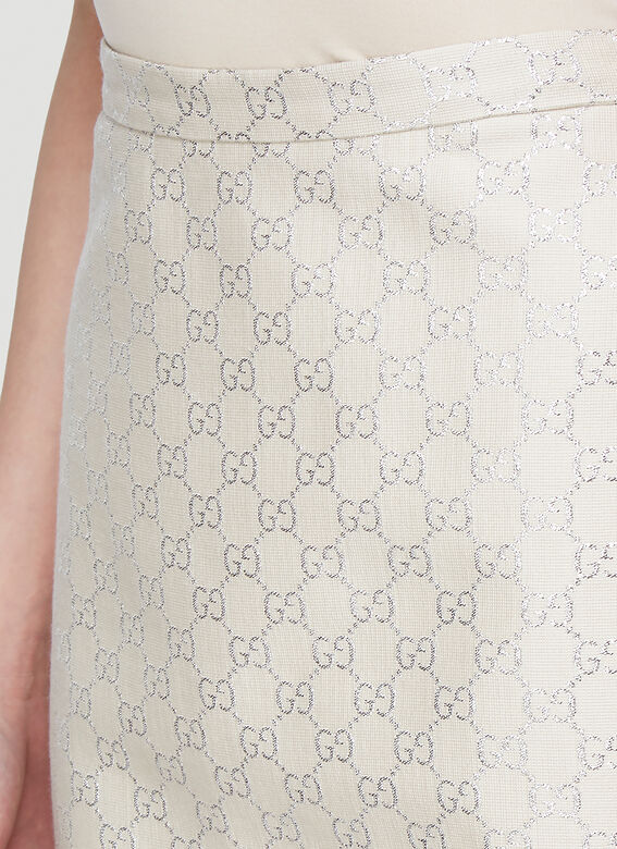 GUCCI Wools Lamé Skirt in White