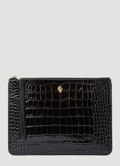 Alexander McQueen Crocodile-Effect Pouch Bag