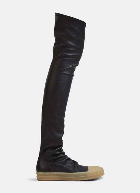 Rick Owens Thigh-High Leather Sock Sneaker Boots