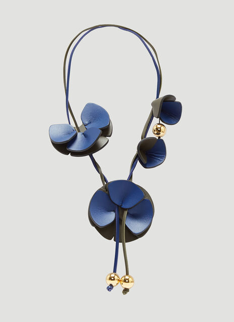 Marni Sculptural Leather Flower Necklace