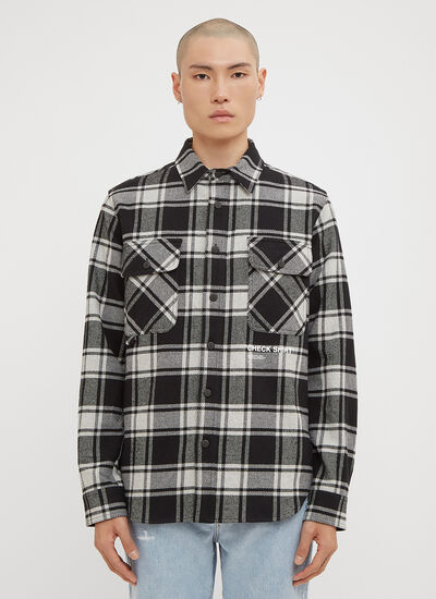 Off-White Check Print Flannel Overshirt