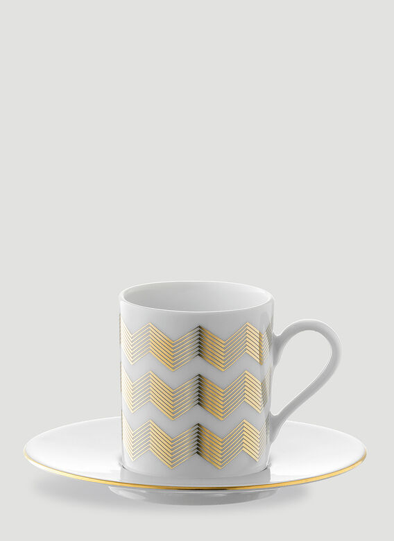 LSA International Set of Four Chevron Coffee Cup and Saucer 4