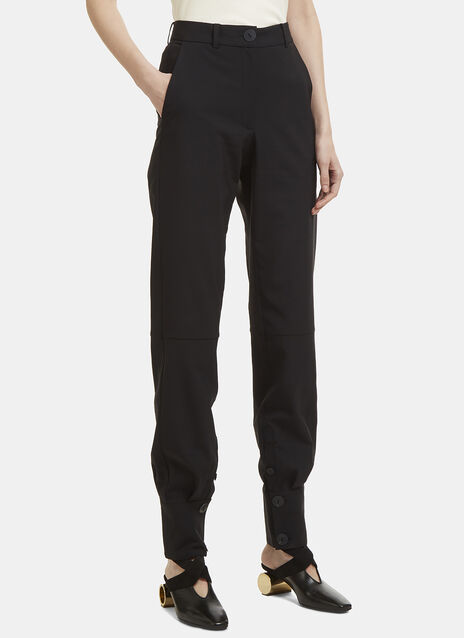 Buttoned Cuff High-Waisted Pants