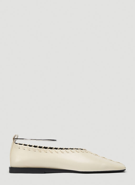 Jil Sander Flats Tripon Leather Flats in Beige