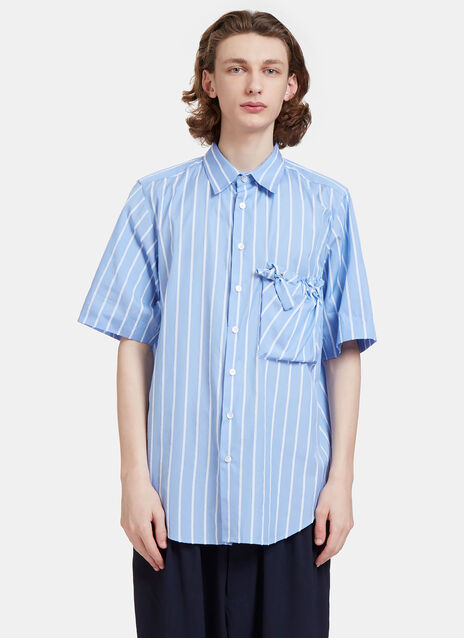 Arthur Raw Striped Ruched Patch Pocket Shirt