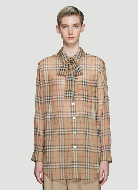 Burberry Vintage Check Silk Pussy-bow Blouse