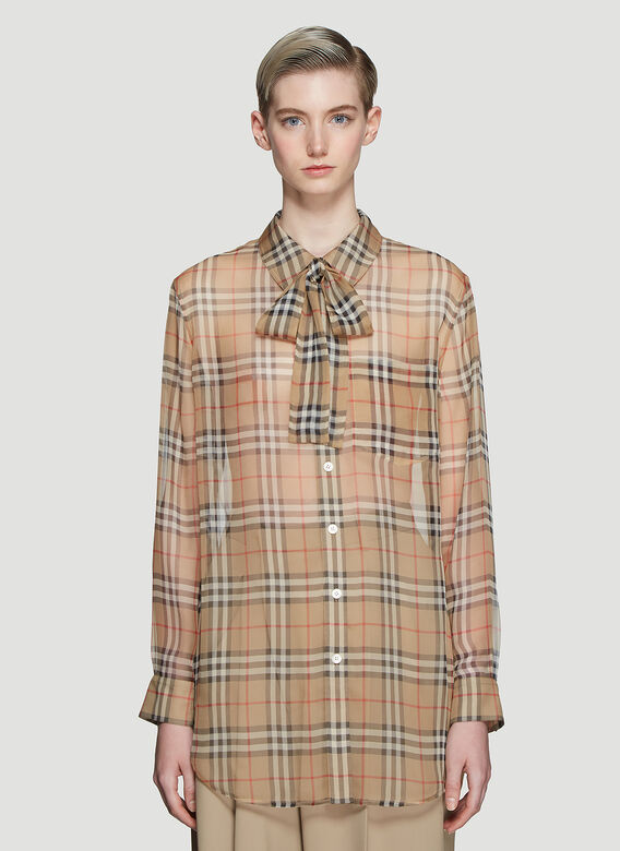 3b8cf8b1245663 Burberry Vintage Check Silk Pussy-bow Blouse. click to zoom