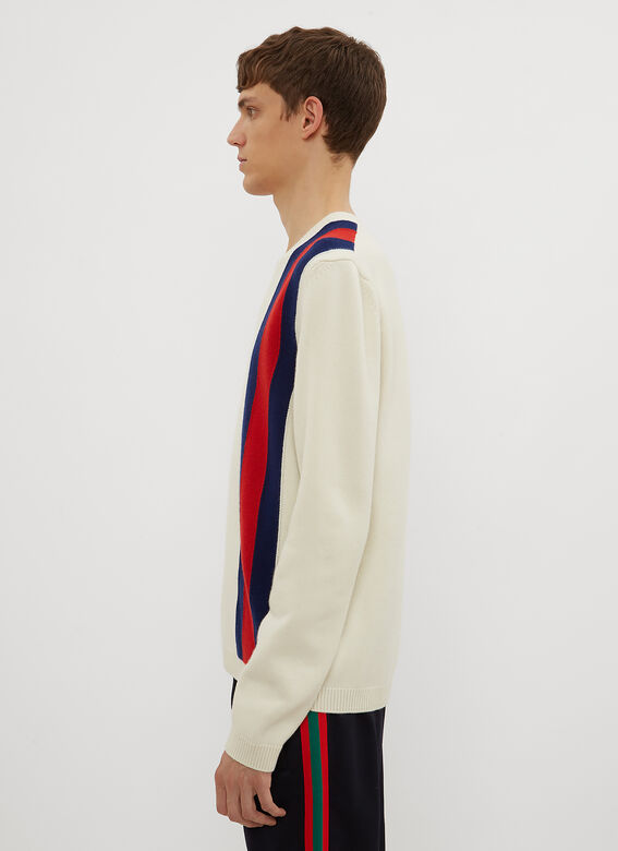 Gucci Striped V-Neck Knit Sweater