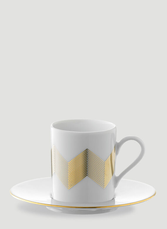 LSA International Set of Four Chevron Coffee Cup and Saucer 2