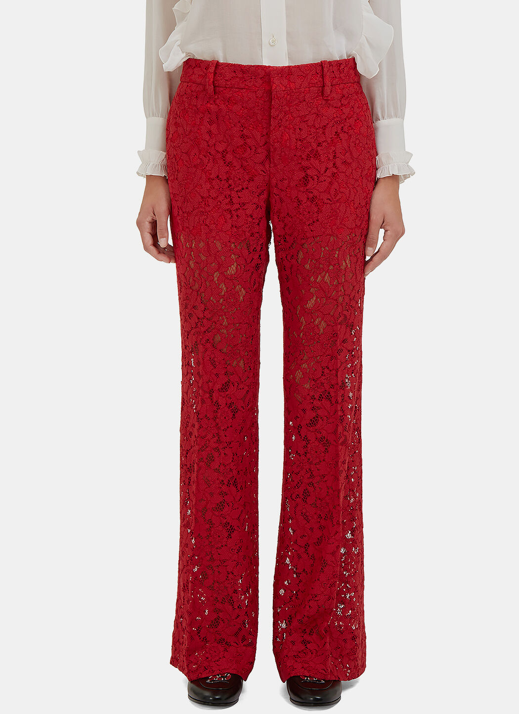 Gucci Cottons Women's Floral Lace Flared Pants in Red