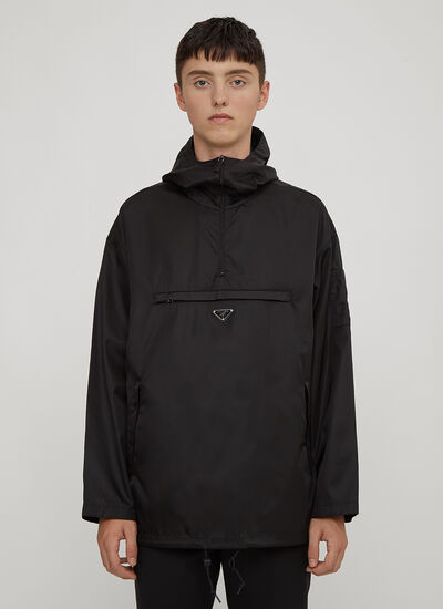 Prada Hooded Nylon Half-Zip Jacket