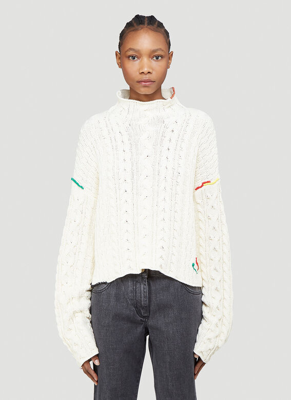 JW ANDERSON Cable Knit Sweater in White