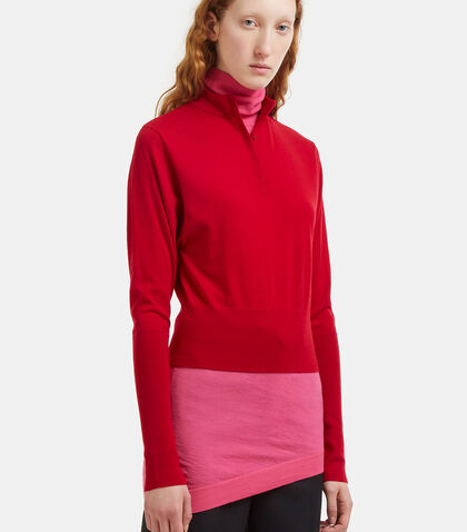 Double-Layered Two-Tone Sweater