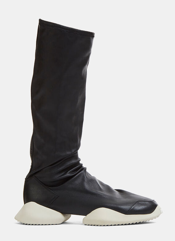 d50e19ce494 Adidas by Rick Owens. RO Runner Leather Stretch Sneaker Boots in Black