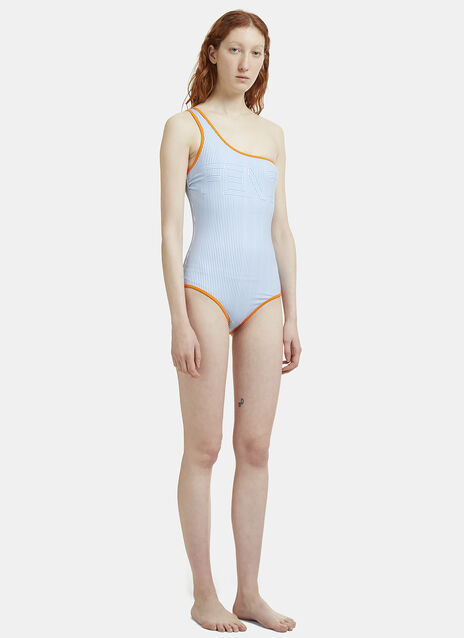 Fendi Striped One Shouldered Swimsuit