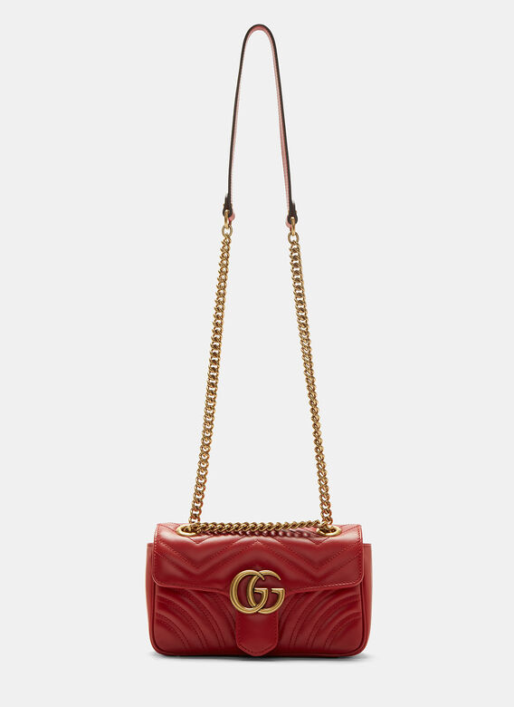 4b2a81ee515 Gucci. GG Marmont Matelassé Mini Chain Shoulder Bag in Red