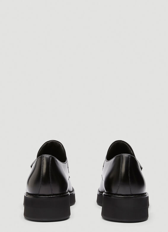Prada Brushed leather Derby shoes with shoe strap 4