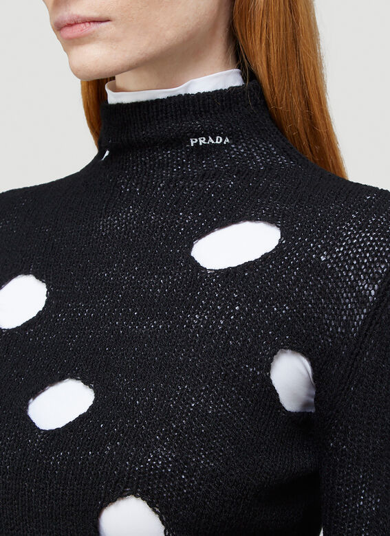 Prada Cut-Out Turtleneck Sweater 5