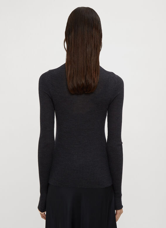 Acne Studios Piped Turtle Neck Ribbed Knit Sweater