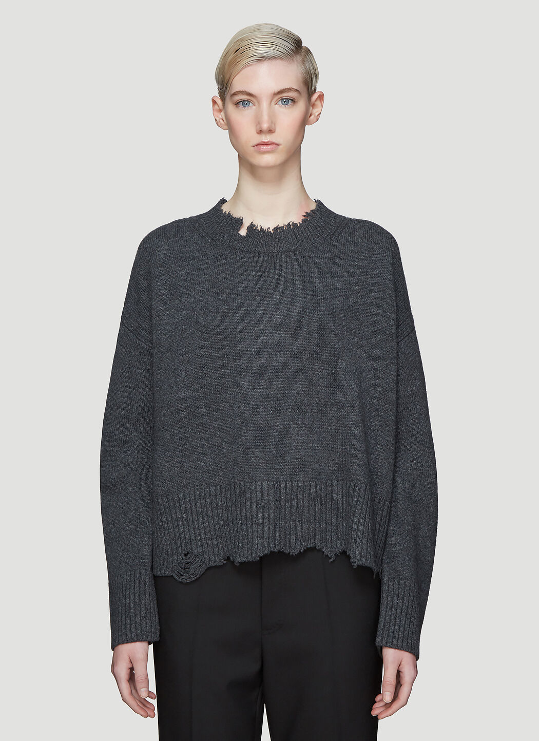 Helmut Lang Knits Elephant Crew Neck Knit Sweater in Grey