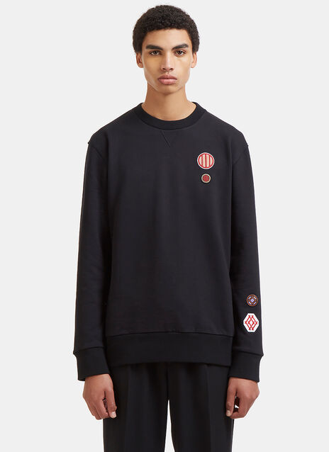 Embroidered Patch Crew Neck Sweater