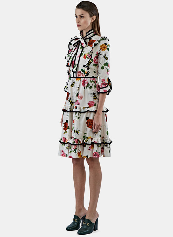 Gucci Floral Ruffle Tiered Dress