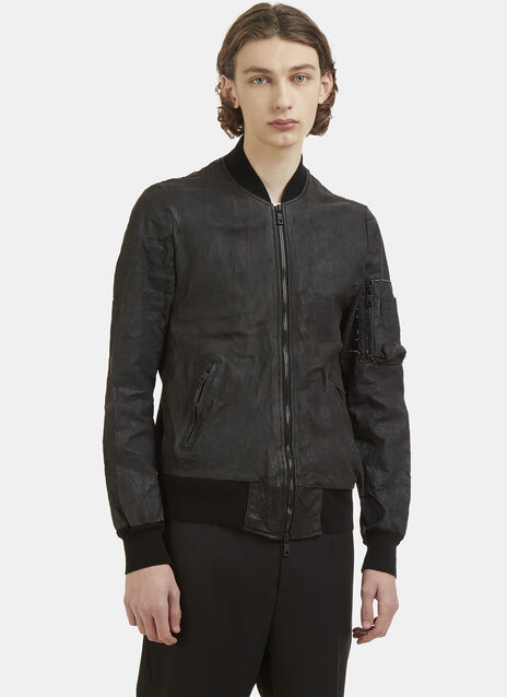 Giorgio Brato Leather and Denim Bomber Jacket