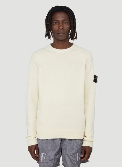 Stone Island Ribbed-Knit Logo-Patch Sweatshirt
