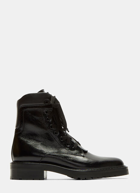 Saint Laurent William 25 Front Zip Leather Boots