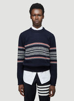 Thom Browne JERSEY SEASONAL BIRDSEYE JACQUARD CRICKET STRIPE RELAXED FIT CREWNECK PULLOVER IN MOHAIR TWEED