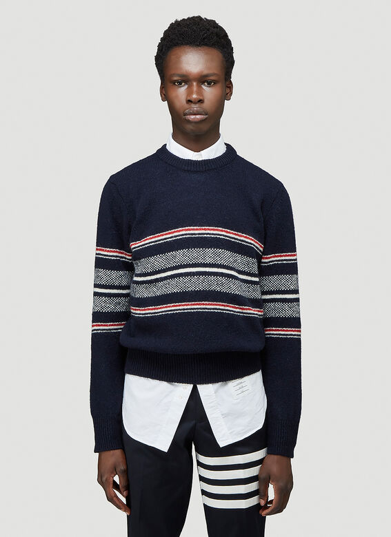 Thom Browne JERSEY SEASONAL BIRDSEYE JACQUARD CRICKET STRIPE RELAXED FIT CREWNECK PULLOVER IN MOHAIR TWEED 1