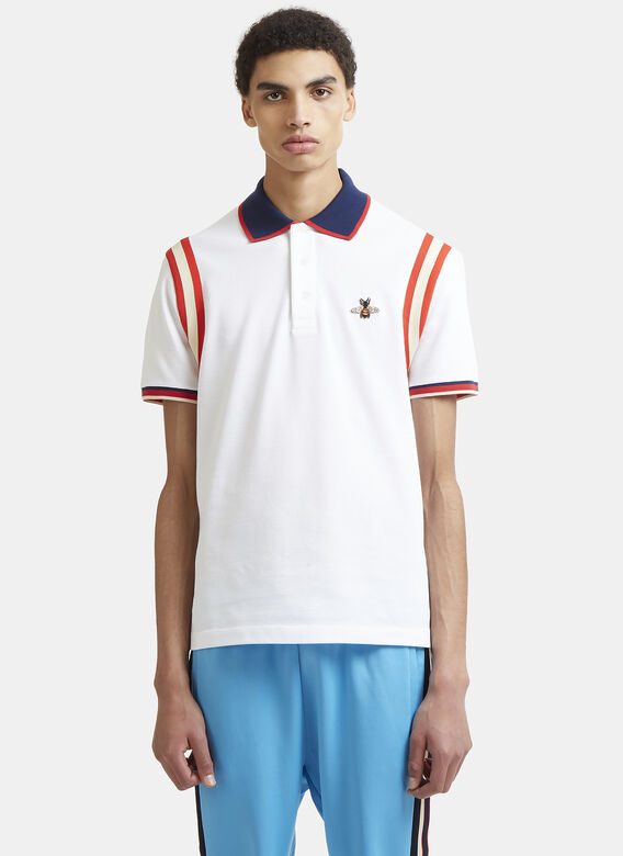 b6aa11e1 Gucci Bee Embroidered Cotton Polo Shirt in White | LN-CC
