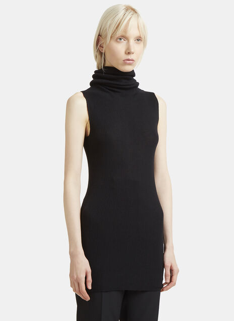 Rick Owens Rib Knit Sleeveless Roll Neck