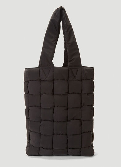 보테가 베네타 Bottega Veneta Padded Quilted Nylon Tote Bag in Black